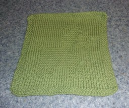 Brand New Hand Knit Cute Corgi Dog Green Dish Cloth For Dog Rescue Charity - $10.91