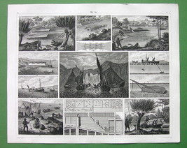 FISHING Fresh Water & Marine Weirs Hooks Nets at Night - 1844 SUPERB Print - $18.36