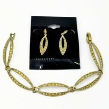 Vintage Monet Rhinestone Link Bracelet & Pierced Earring Set - $15.84
