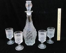 Wine Decanter & 4 Glasses Goblets Liquor Anchor Hocking Wexford Vintage - $24.74
