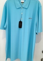Greg Norman XXL AQUA Solid Textured Golf Performance Shirt NWT - $21.23