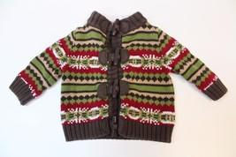 K4858 Boys Brown Red White Print Gymboree Long Sleeve Cardigan Sweater 0-3 Mo - $19.29