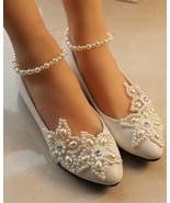 Women Flat Lace Ballet Style Wedding Shoes,Bridal Flat Shoes UK Size 2,3... - £30.95 GBP