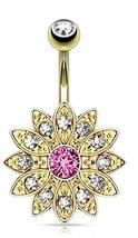Gold Flower w/Center Crystal Paved Petals Belly Button Ring Pierced Navel - $14.85