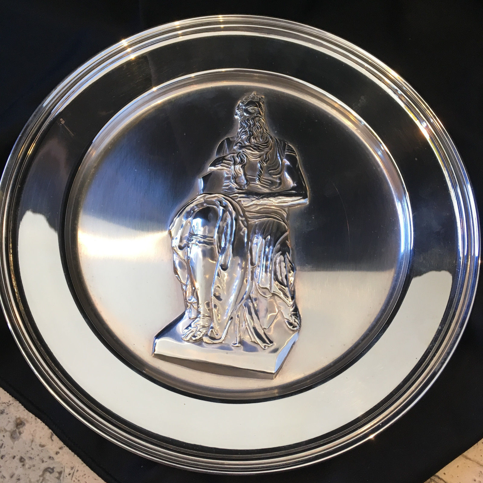 Primary image for Moses by Michelangelo Large Plate Sterling Silver Stamped England 12.25 ozt - 9""