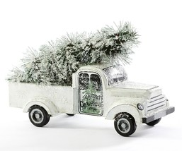 """Pick-Up Truck w Christmas Tree - Snowy Country Theme - White 11.8"""" L Mantle Gift"""