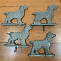 4 Vintage COCKER SPANIEL DOG Aluminum Metal Fence Mailbox Gate Topper - $84.14