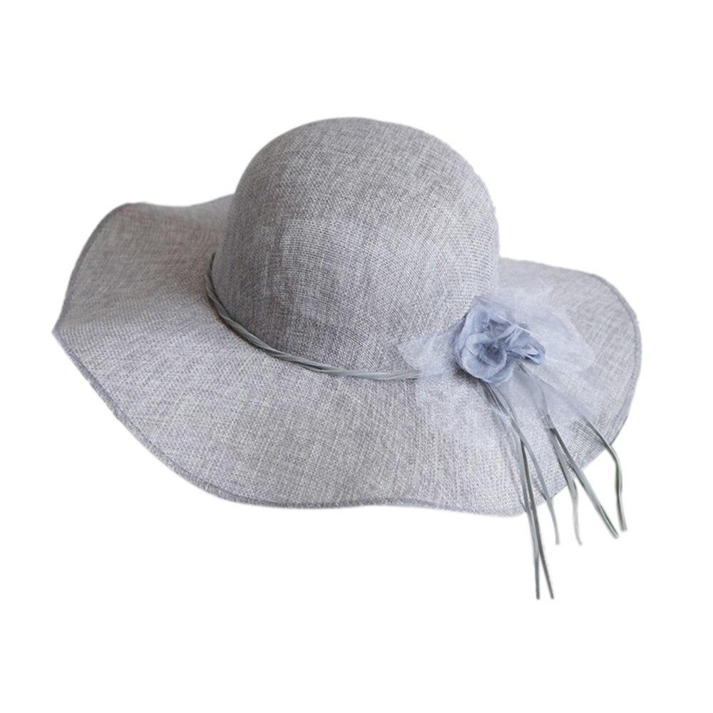 Floral Straw Sun Hats Summer Women Wide Brim Bow Outdoor Beach Sun Caps Floppy C image 2
