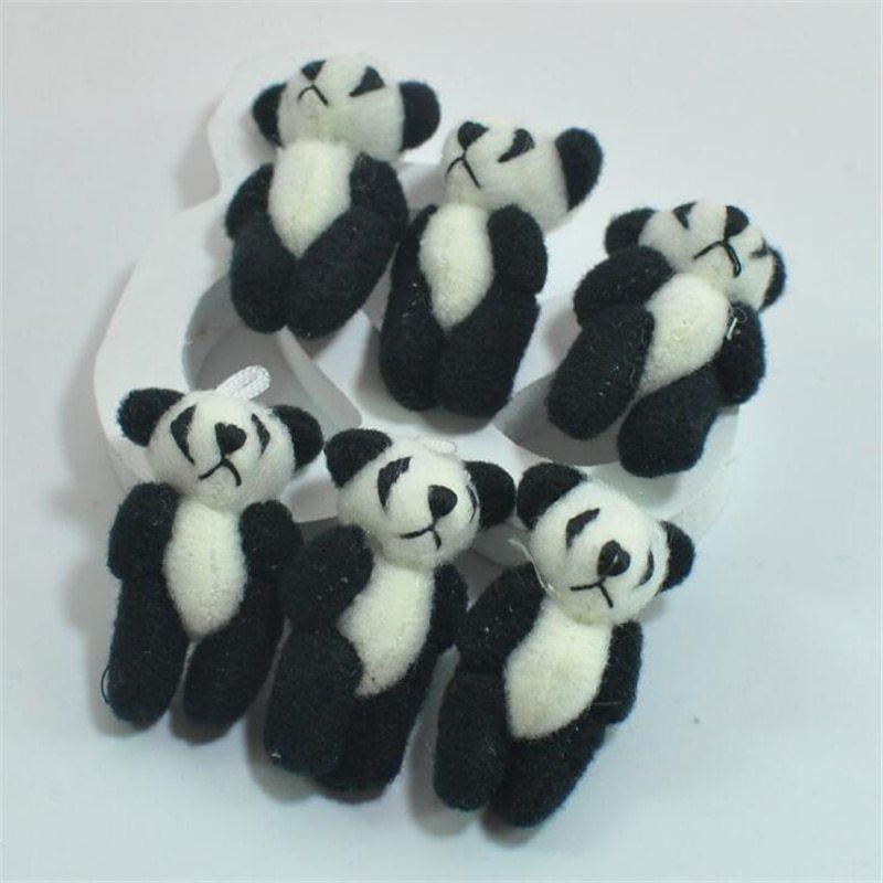 100pcs/lot Kawaii Small Joint Panda Bear Stuffed Plush Toys,Small Phone Pendant  image 3