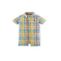 Ralph Lauren Baby Boys Cotton Madras Plaid Shortall Romper - 6 Months - Yellow - $29.50