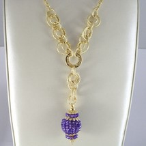 SILVER 925 NECKLACE YELLOW GOLD PLATED WITH HANGING CHARM MILLED AND AMETHYST image 2