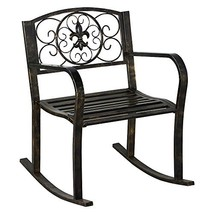 Yaheetech Metal Patio Rocking Chair Rolling Chair Heavy Duty Rocking Cha... - $66.06