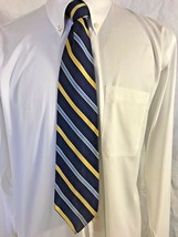 Brooks Brothers Makers Blue Yellow Striped 100% Silk Tie - $25.00