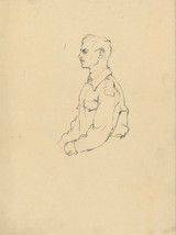 Peter Collins ARCA - c.1970s Graphite Drawing, Portrait of a Military Man - $19.80