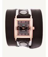 LA MER Watch Simple Black  Leather Wrap Rose Gold Square Black Dial - $79.30