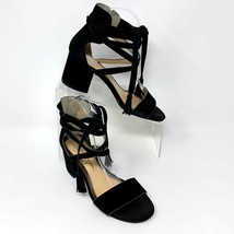 Jessica Simpson Womens Black Suede Leather Ankle Wrap Sandals, Size 6.5 - $29.65