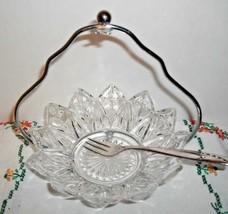 Vintage Clear Petal Mint Dish Federal Glass w/CADDY & SPOON~DISC.1960~PICKLES - $19.75