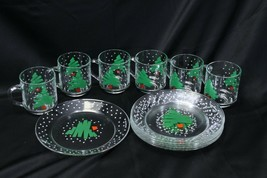"Luminarc Xmas Tree Mugs and Plates 8"" Lot of 12 - $47.03"