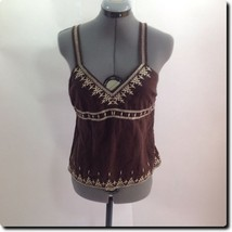 Old Navy Flattering Brown Embroidered Camisole Sleeveless Top Blouse S - $11.65