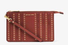 NWT Michael Kors Brooklyn Grommet Medium Wristlet in Brick $148 Leather ... - $69.10
