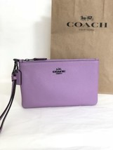 NWT Coach 22952 Polished Pebble Leather Small Wristlet Zip Top Lily Purp... - $46.71