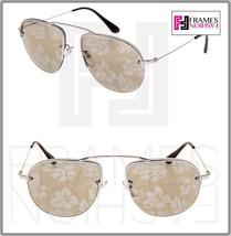 PRADA TEDDY PR58OS Aviator Silver Gold Hibiscus Mirrored Rimless SunglasseS 58O - $213.84