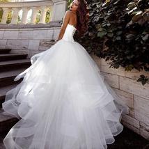 Sweetheart Back Lace up Tulle Ruffle Princess A-line Bridal Wedding Dress