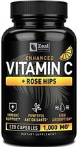 Vitamin C 1000mg with Rosehips 120 Capsules | 1000mg Pure Vitamin C Capsules - A
