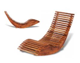 Garden Sun Pool Lounger Rocking Chair Outdoor Furniture Acacia Wood Cons... - $98.90