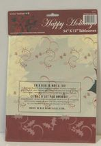 Color Fantastik 62574 Happy holidays Red Off White Poinsettia Table Cover image 3