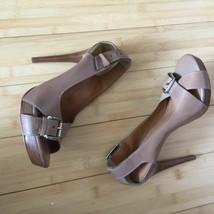 Michael Kors Heels Open Toe leather tan nude size 9.5 EUC image 2