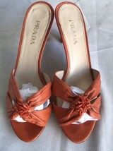 PRADA Orange Leather Open Toe Kitten Heel Sandals Slides Size  7 /37.5 - $87.12