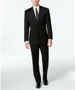NEW MENS CALVIN KLEIN SLIM BLACK 100% WOOL STRETCH MODERN FIT 2 PC SUIT ... - $168.29
