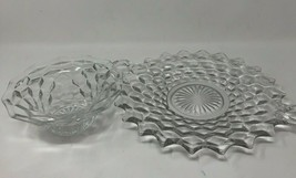 "Fostoria Clear Cubist 9"" Handled Serving Plate & 6"" Condiment Dish (FOSCC) - $19.28"