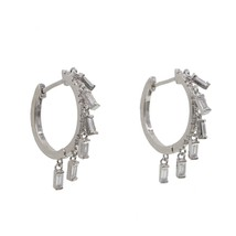 Fashion silver Gold Hoop Earring drop CZ Earring For Women Korea Ear Jew... - $15.47