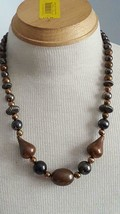 "Vintage Bronze Rustic Unique 23""BEADED Single Strand Necklace,Silver Gold Copper - $4.94"