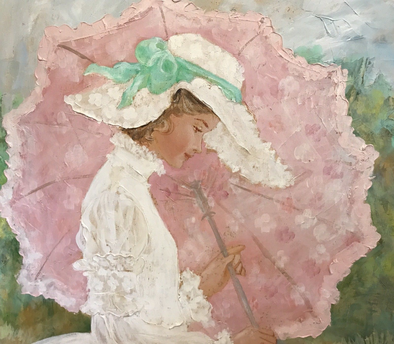 Victorian Umbrella Lady Garden Original Oil Palette Knife Canvas Signed