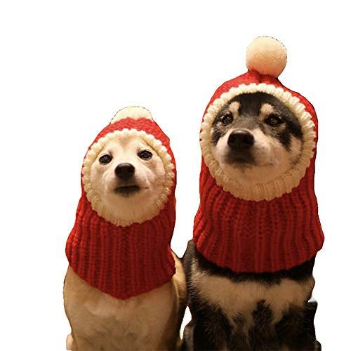 NACOCO Funny Christmas Dog Hat wiht Pompon Crocheted Snood Dog Hat Red Warm Wint