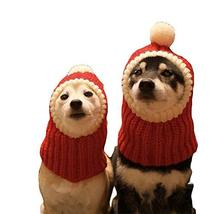 NACOCO Funny Christmas Dog Hat wiht Pompon Crocheted Snood Dog Hat Red W... - $16.82