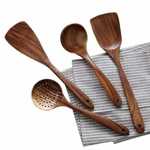 UBae Teak 4 Piece Set Kitchen Utensils Wooden Kitchenware Set Nonstick P... - $25.16