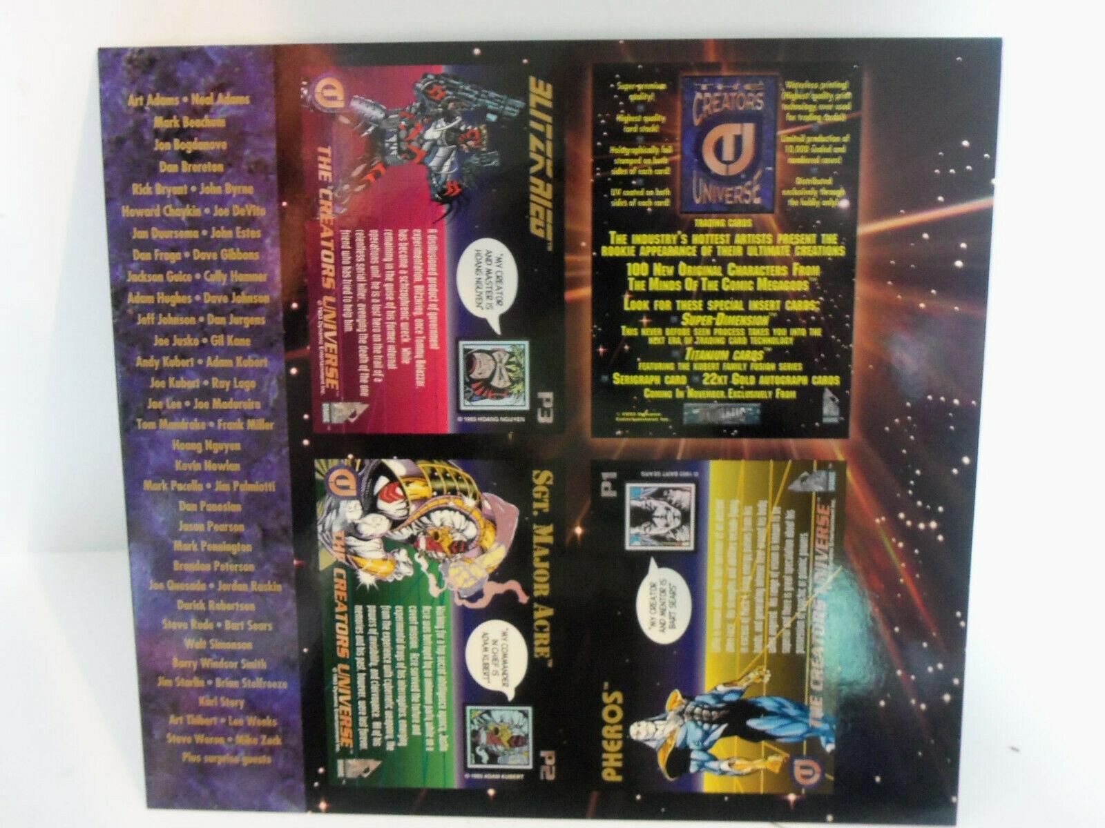 Vintage 1993 CREATOR'S UNIVERSE Uncut PROMO Cards Sheet Kubert Jusko Sears Nguye image 4