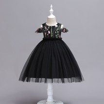 Ball Gowns Black Tulle Embroidery Kids Flower Girl Dress Strapless Party Gowns  image 3