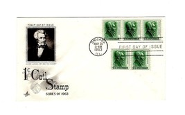 FDC ENVELOPE-ANDREW JOHNSON 1c COIL STAMP -1963 ART CRAFT CACHET BK12 - $0.98