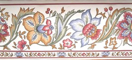 Wallpaper Border Red Blue Green Flower Floral White Wall EH99745 Jacobean 5 1/8 - $14.74
