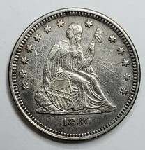 1860O United States Seated Liberty Quarter Dollar 25c Coin Lot A 153