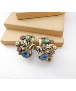 Vintage Multi-Color Rhinestone Silver Tone Floral Clip On Earrings W38 - $14.44
