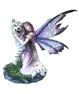 Large Magenta Lavender Fairy Embracing Siberian White Tiger Statue Home ... - $95.03