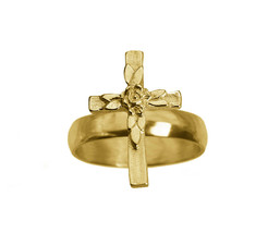 Rose cross rosary Christian Croix 24K Gold Plated Ring Jewelry New Pick ... - $30.55