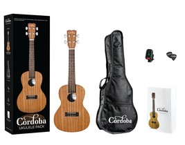 Cordoba UP100 Concert Size Ukulele Pack with Gig Bag, Clip On Tuner and ... - $99.00