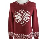Knitted by Bass Women's Medium Weight Pullover Sweater Size M Red/White